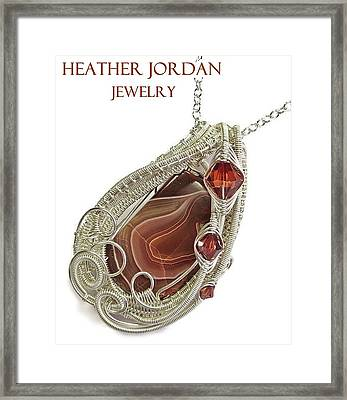 Lake Superior Agate Pendant In Sterling Silver With Swarovski Crystal Lsapss5 Framed Print by Heather Jordan