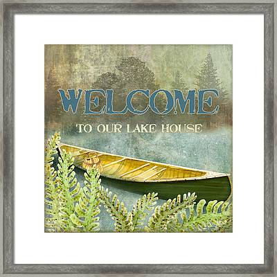 Lakeside Lodge - Welcome Sign Framed Print by Audrey Jeanne Roberts