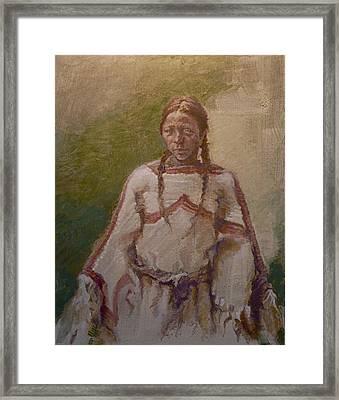 Lakota Woman Framed Print by Ellen Dreibelbis