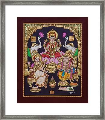 Lakshmi Ganesh Saraswati Framed Print by Vimala Jajoo