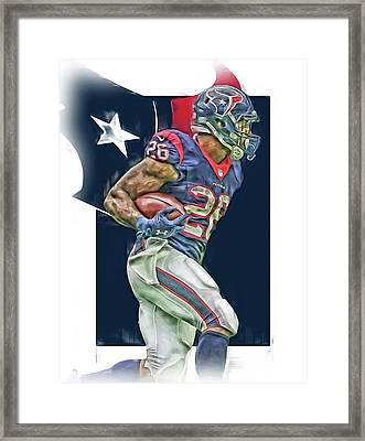 Lamar Miller Houston Texans Oil Art Framed Print by Joe Hamilton