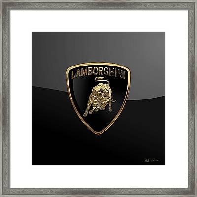 Lamborghini - 3d Badge On Black Framed Print by Serge Averbukh