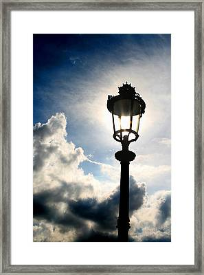 Lamp Post At The Louvre Framed Print by Greg Sharpe