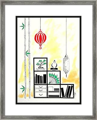 Lamps, Books, Bamboo -- The Original -- Asian-style Interior Scene Framed Print by Jayne Somogy