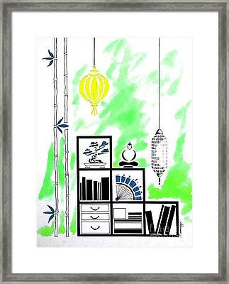 Lamps, Books, Bamboo -- Lime Green Framed Print by Jayne Somogy