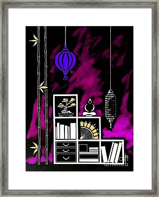 Lamps, Books, Bamboo -- Negative 3 Framed Print by Jayne Somogy