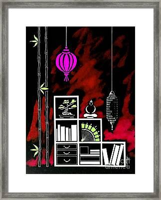 Lamps, Books, Bamboo -- Negative 5 Framed Print by Jayne Somogy
