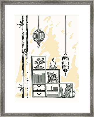 Lamps, Books, Bamboo -- Neutrals Framed Print by Jayne Somogy