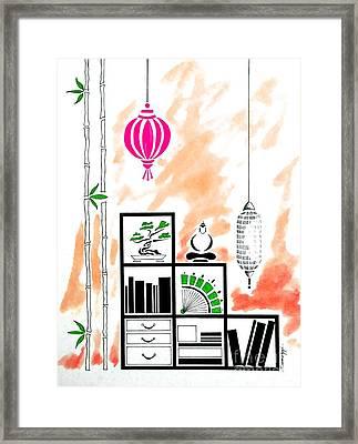 Lamps, Books, Bamboo -- Orange Framed Print by Jayne Somogy
