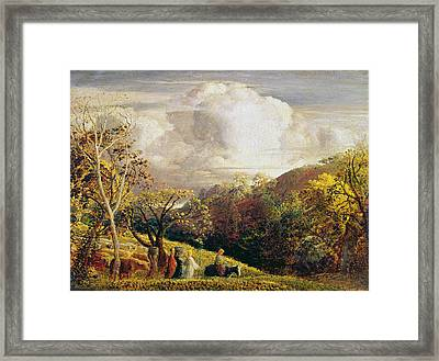 Landscape Figures And Cattle Framed Print by Samuel Palmer