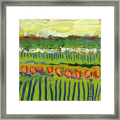 Landscape In Green And Orange Framed Print by Jennifer Lommers