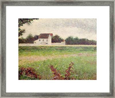 Landscape In The Ile De France Framed Print by Georges Pierre Seurat