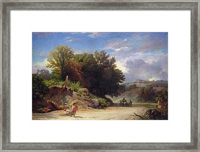 Landscape On The Outskirts Of Rome Framed Print by Jean Achille Benouville