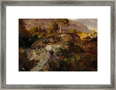 Landscape Study From Vaga Framed Print by Hans Gude
