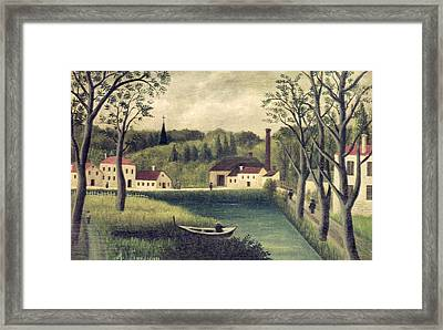 Landscape With A Fisherman Framed Print by Henri Rousseau