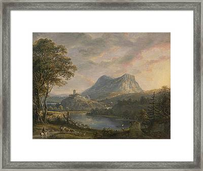 Landscape With A Lake Framed Print by Paul Sandby