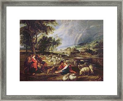 Landscape With A Rainbow Framed Print by Rubens