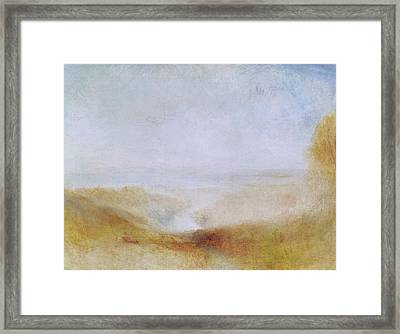 Landscape With A River And A Bay In The Distance Framed Print by Joseph Mallord William Turner