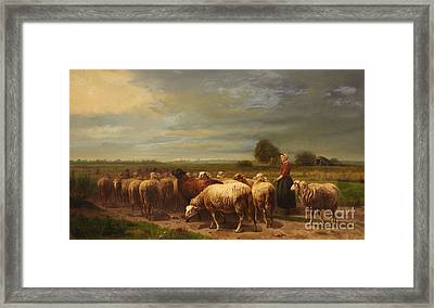 Landscape With A Shepherdess And A Flock Of Sheep Framed Print by MotionAge Designs