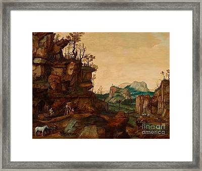Landscape With Adam And Eve Framed Print by Celestial Images