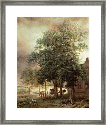Landscape With Carriage Or House Beyond The Trees Framed Print by Paulus Potter
