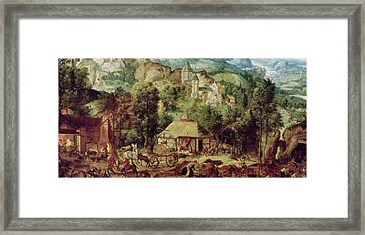 Landscape With Forge  Framed Print by Herri met de Bles