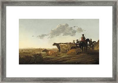 Landscape With Herdsmen Framed Print by Aelbert Cuyp
