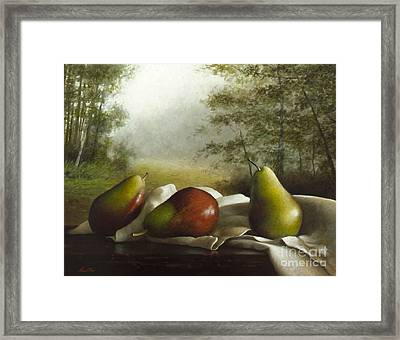 Landscape With Pears Framed Print by Larry Preston