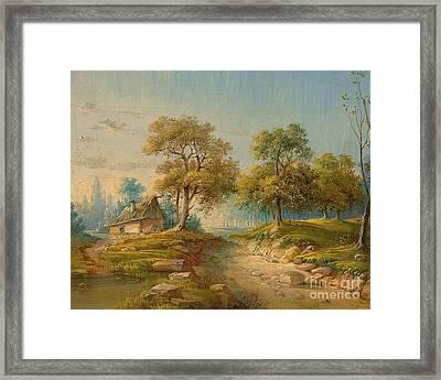 Landscape With Pond Framed Print by MotionAge Designs