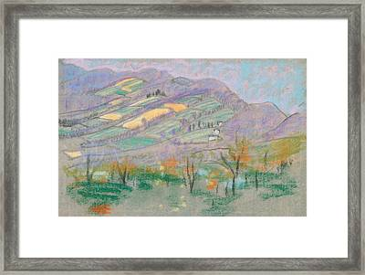 Landscape With Purple Mountains  Framed Print by Arthur Bowen Davies