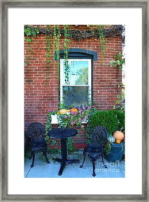Lanier Winery Bistro Table Framed Print by Amy Lucid