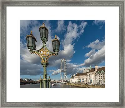 Lanterns On Westminster Framed Print by Adrian Evans