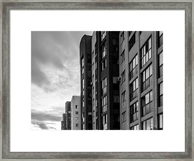 Large Apartment Block And Sunset Framed Print by John Williams