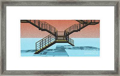 Large Stair 38 On Cyan And Strange Red Background Abstract Arhitecture Framed Print by Pablo Franchi