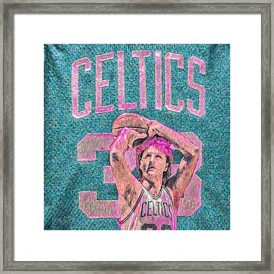 Larry Bird Boston Celtics Digital Painting Pink Framed Print by David Haskett