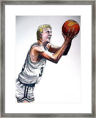 Larry Bird Framed Print by Dave Olsen