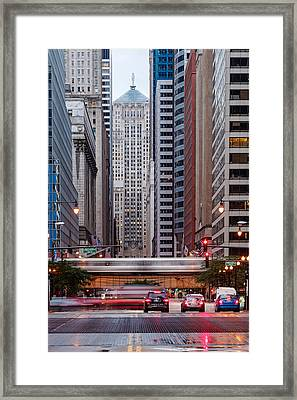 Lasalle Street Canyon With Chicago Board Of Trade Building At The South Side II - Chicago Illinois Framed Print by Silvio Ligutti