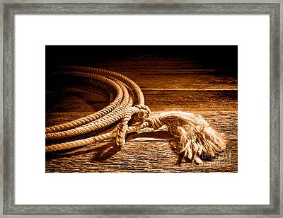 Lasso - Sepia Framed Print by Olivier Le Queinec