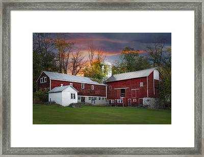 Last Light At The Red Barn Framed Print by Susan Candelario