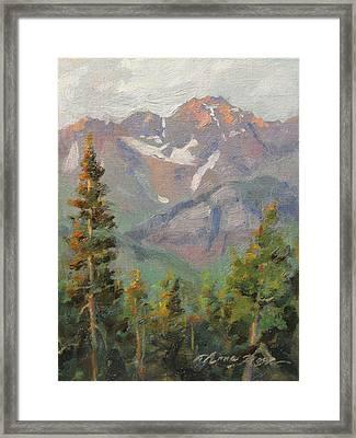 Last Light In Mountain Village Plein Air Framed Print by Anna Rose Bain