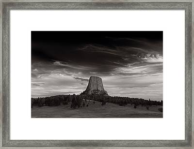 Last Light On Devils Tower Bw Framed Print by Steve Gadomski