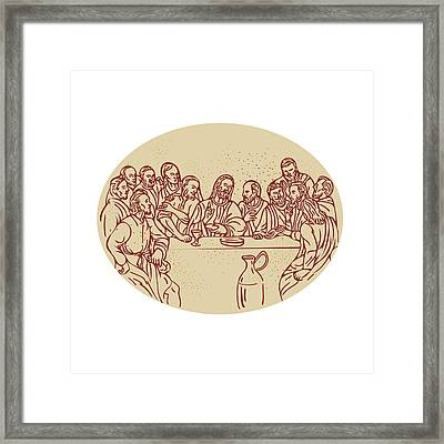 Last Supper Jesus Apostles Drawing Framed Print by Aloysius Patrimonio