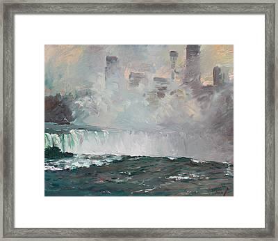 Late Afternoon In Niagara Falls Framed Print by Ylli Haruni