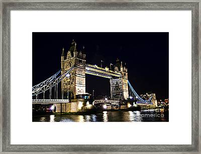 Late Night Tower Bridge Framed Print by Elena Elisseeva