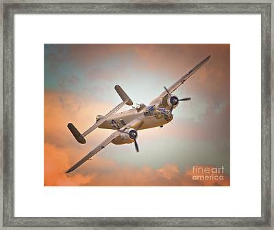 Late Return,north American B-25 Mitchell  Framed Print by Gus McCrea