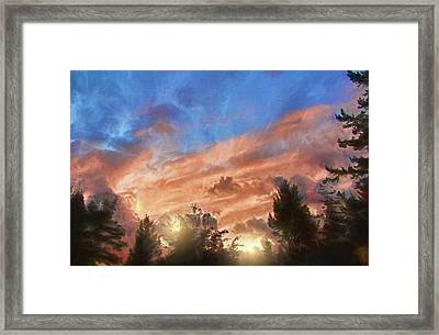 Late Summer Sunset Framed Print by Kathy Bassett