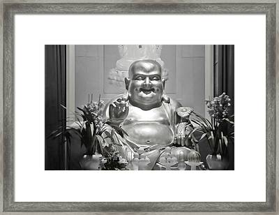Laughing Buddha - A Symbol Of Joy And Wealth Framed Print by Christine Till