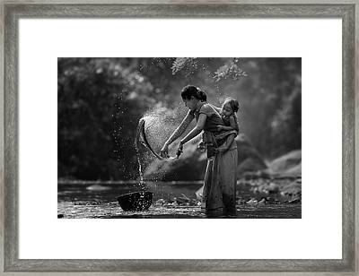 Laundry Framed Print by Asit
