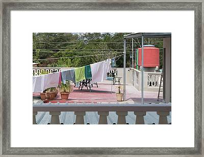 Laundry At The Bay Framed Print by Sharon Popek