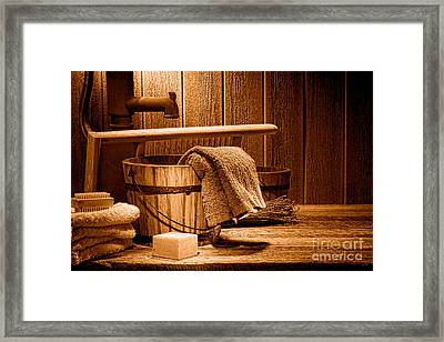 Laundry At The Ranch - Sepia Framed Print by Olivier Le Queinec